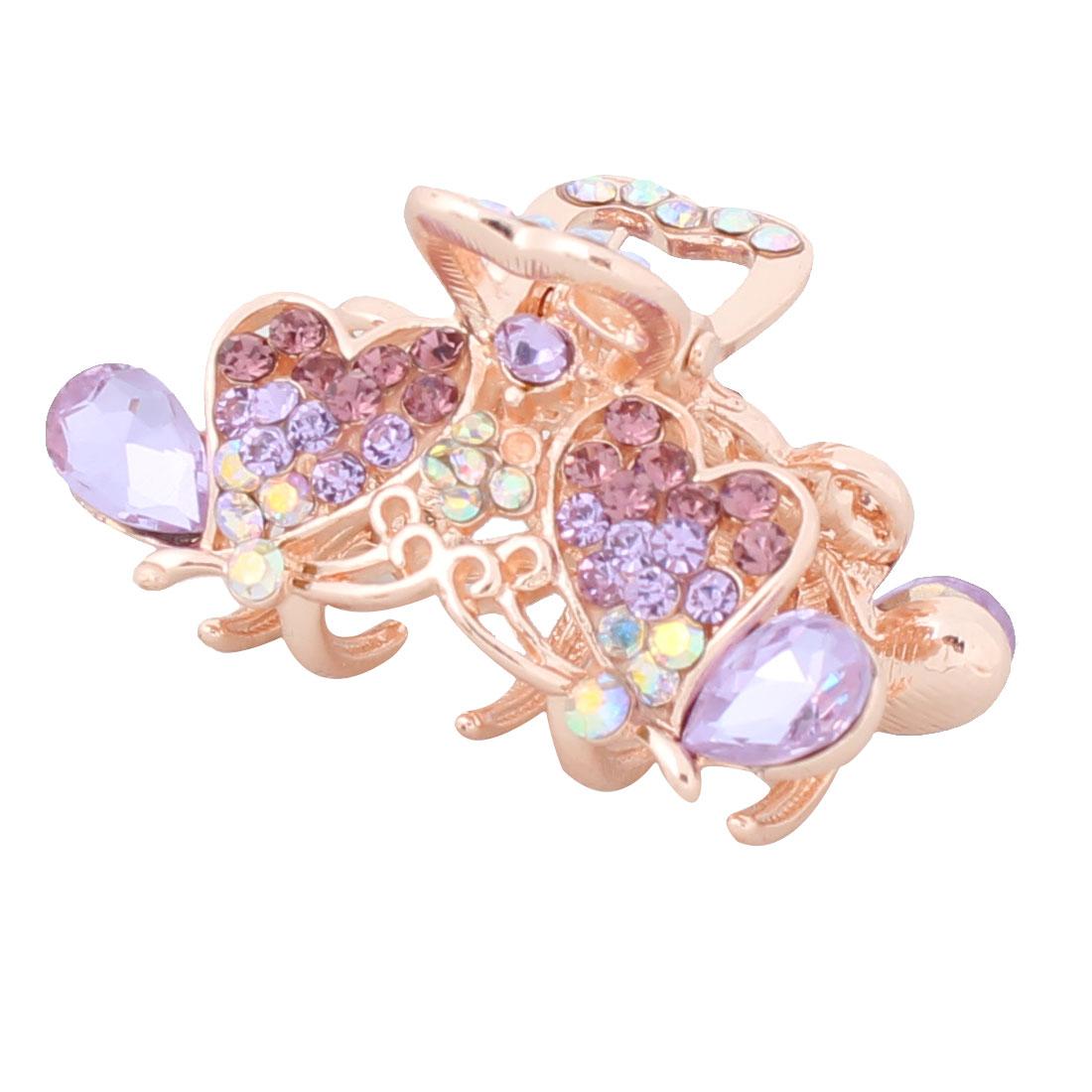 Lady Metal Butterfly Ornament Sparkle Rhinestone 5 Teeth Spring Hair Claw Purple