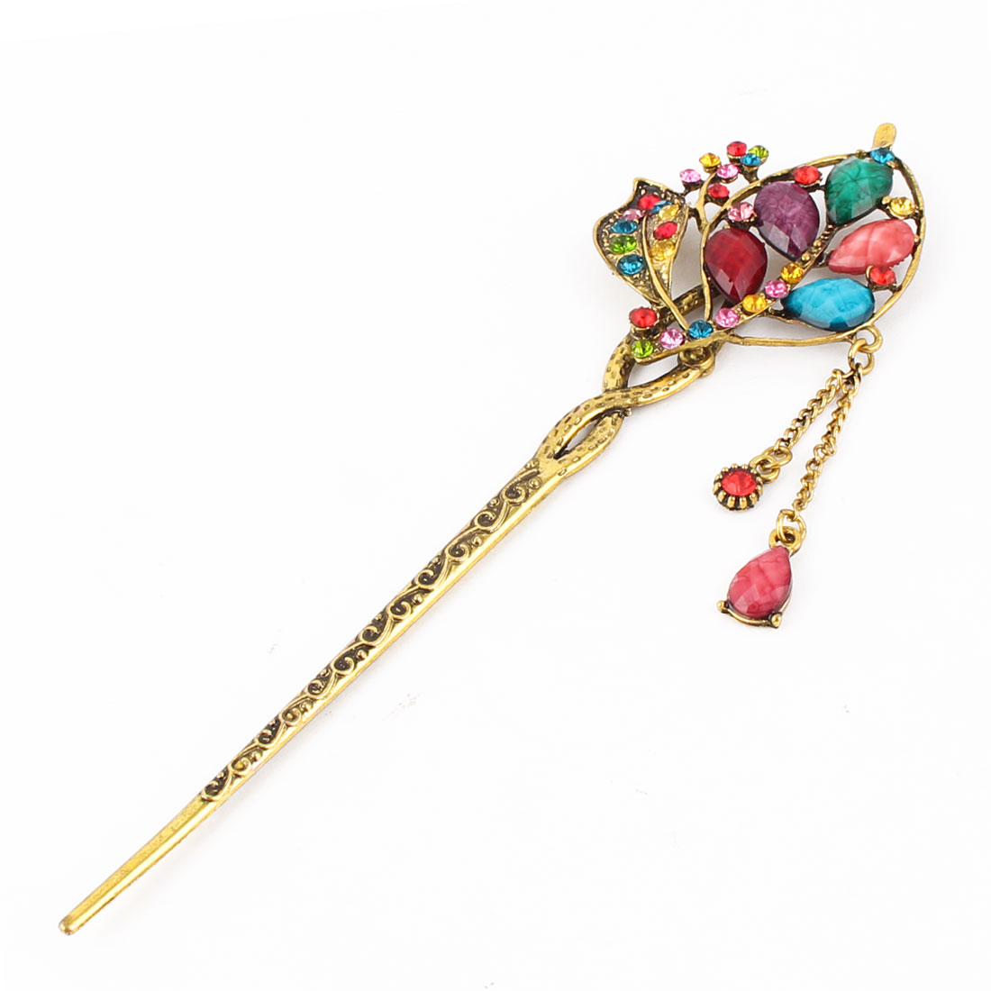 Lady Retro Leaves Design Rhinstone Decor Tassels Carved Hair Pin Colorful