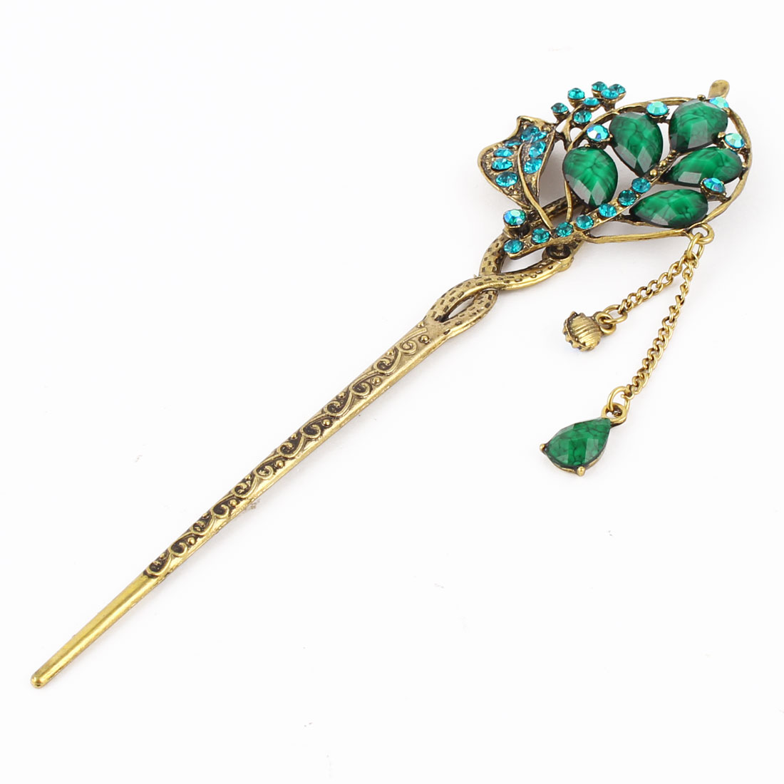 Women Metal Vintage Leaves Adorn Rhinestone Detail Tassels Carved Hair Pin