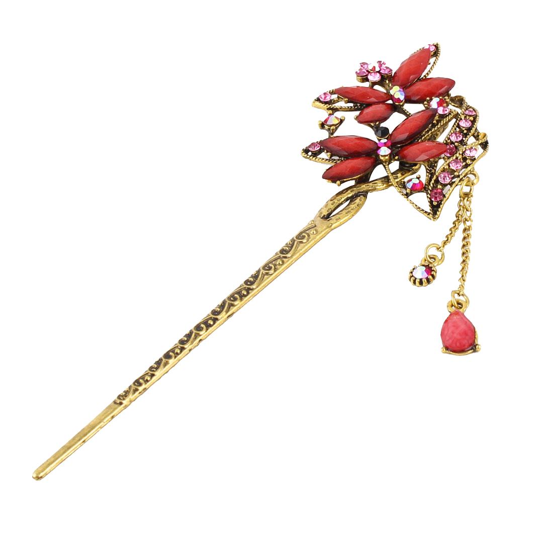 Lady Retro Dragonfly Flower Decor Caved Tassels Rrhinestone Hair Pin Pink
