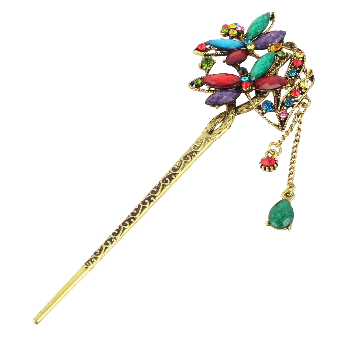 Lady Metal Vintage Dragonfly Decor Tassels Rhinestone Adorn Hair Pin Colorful