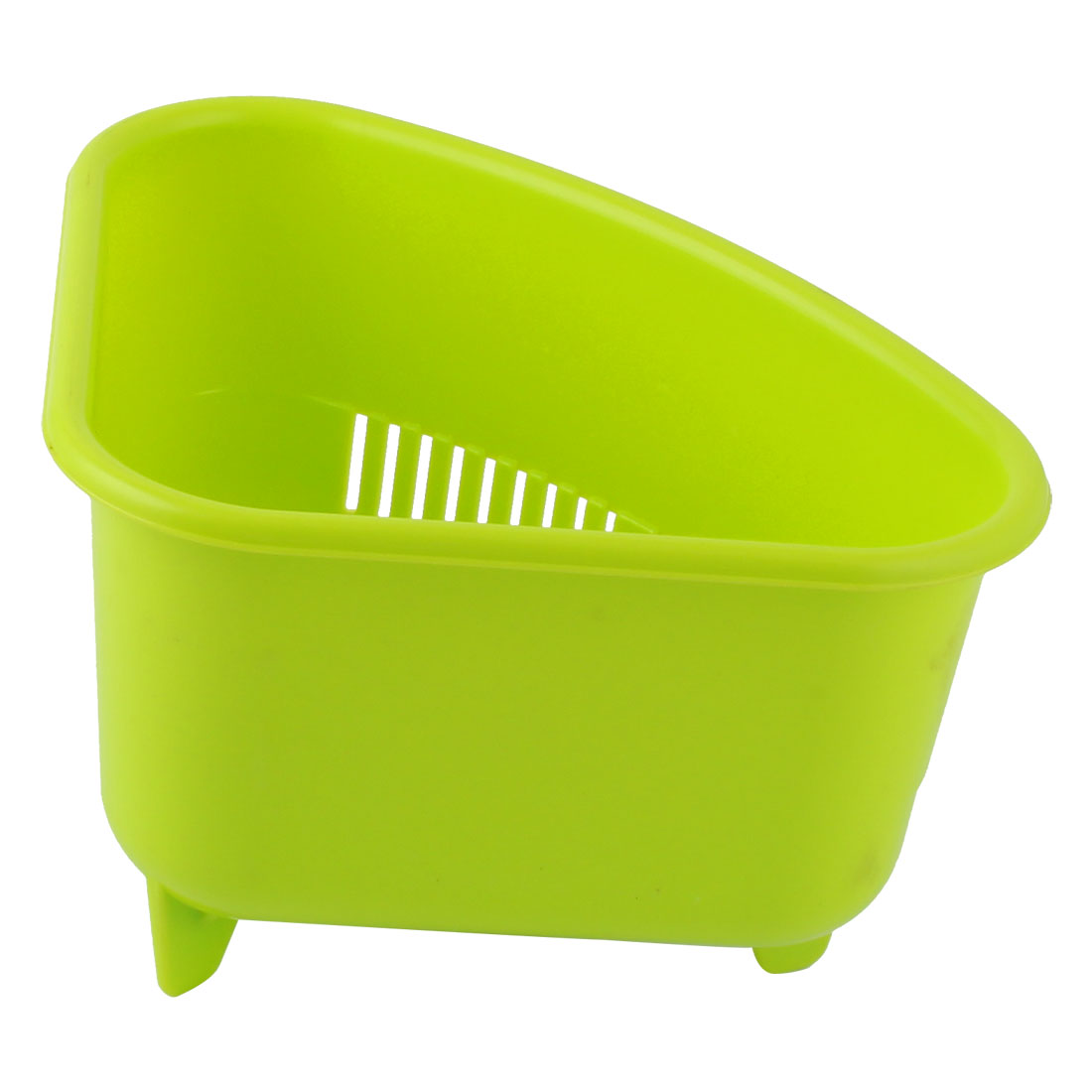 Household Kitchen Plastic Triangle Shaped Fruit Vegetables Drain Basket Holder Container Green