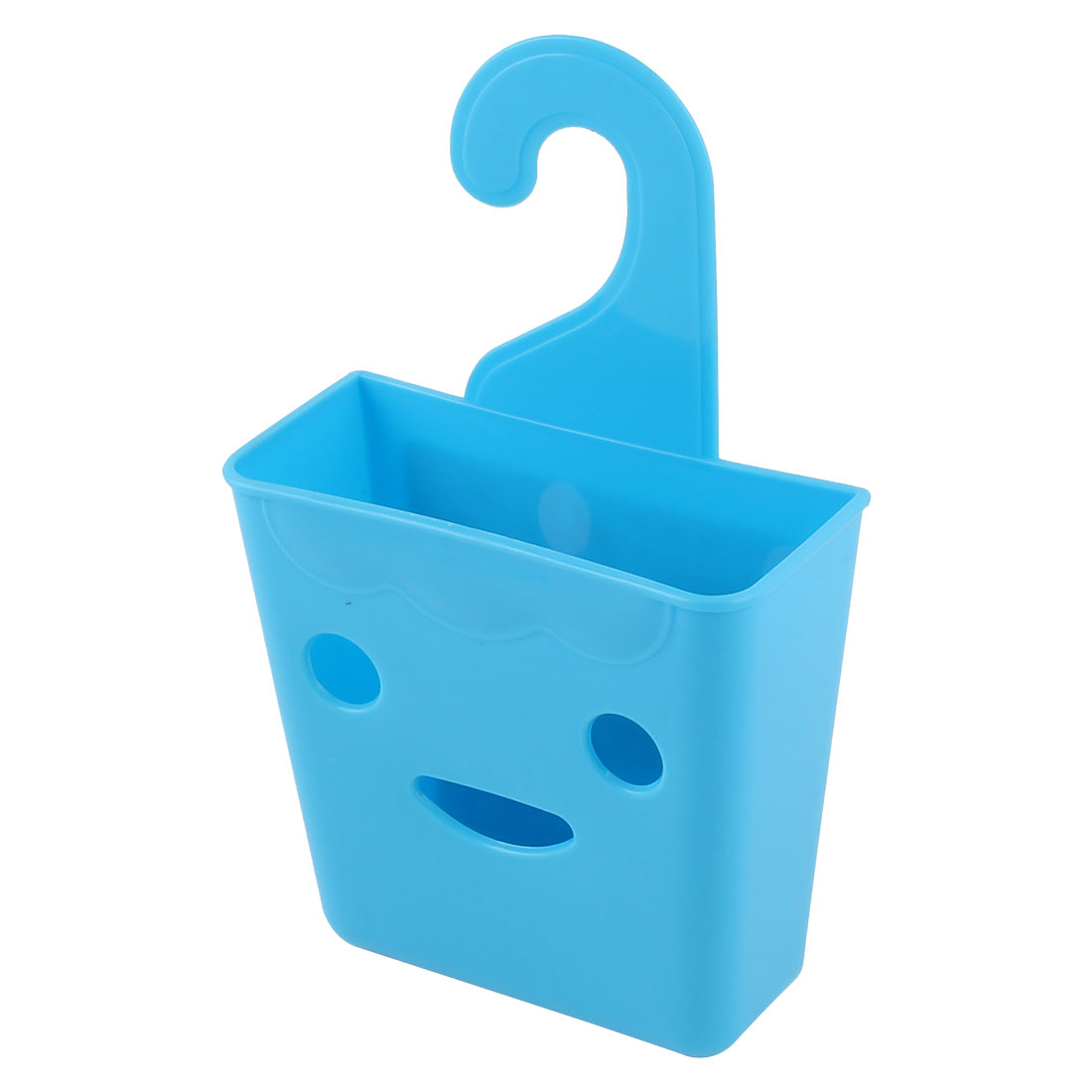 Bathroom Closet Plastic Smiling Face Design Wall Hanging Storage Case Basket Organizer Holder Blue