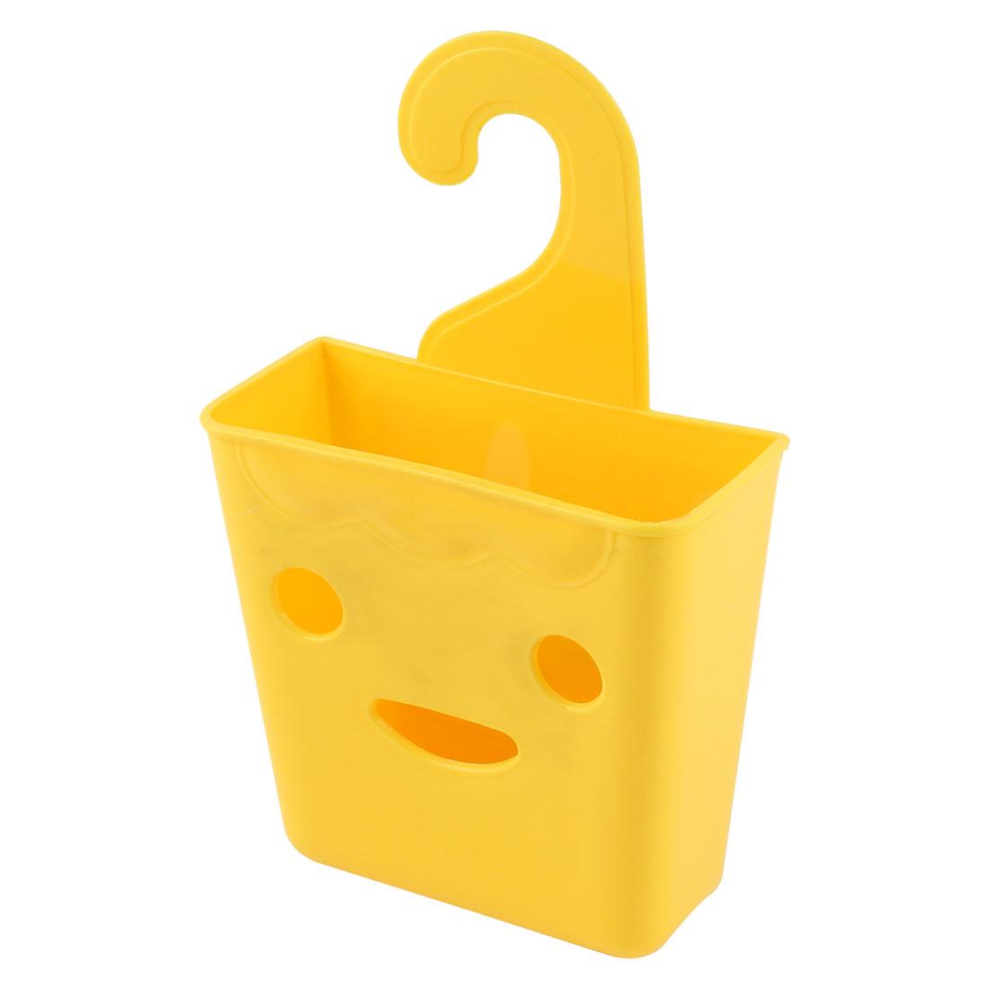 Bathroom Closet Plastic Smiling Face Design Wall Hanging Storage Case Basket Organizer Holder Yellow