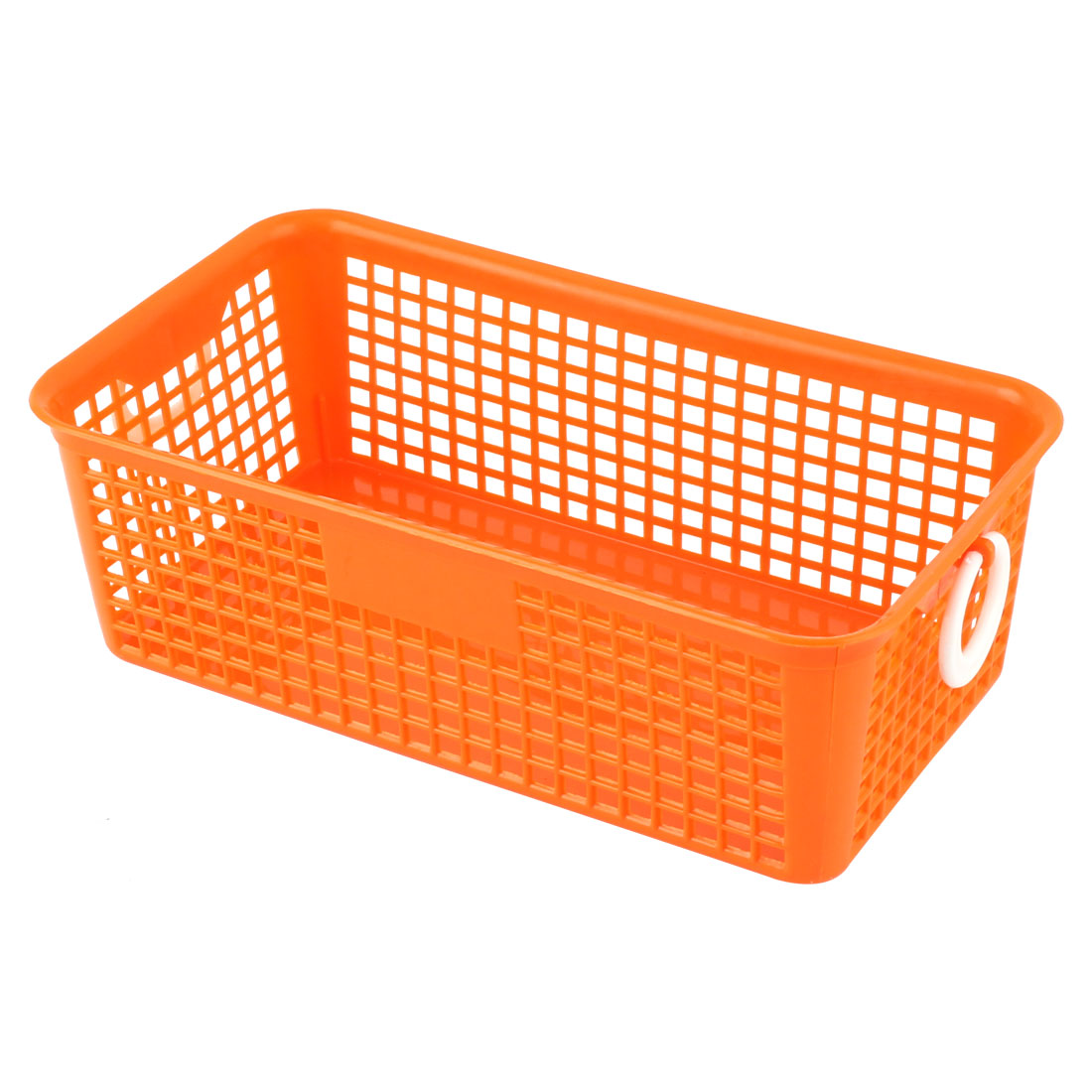 Family Kitchen Bathroom Plastic Rectangle Binaural Storage Basket Organizer Holder Orange