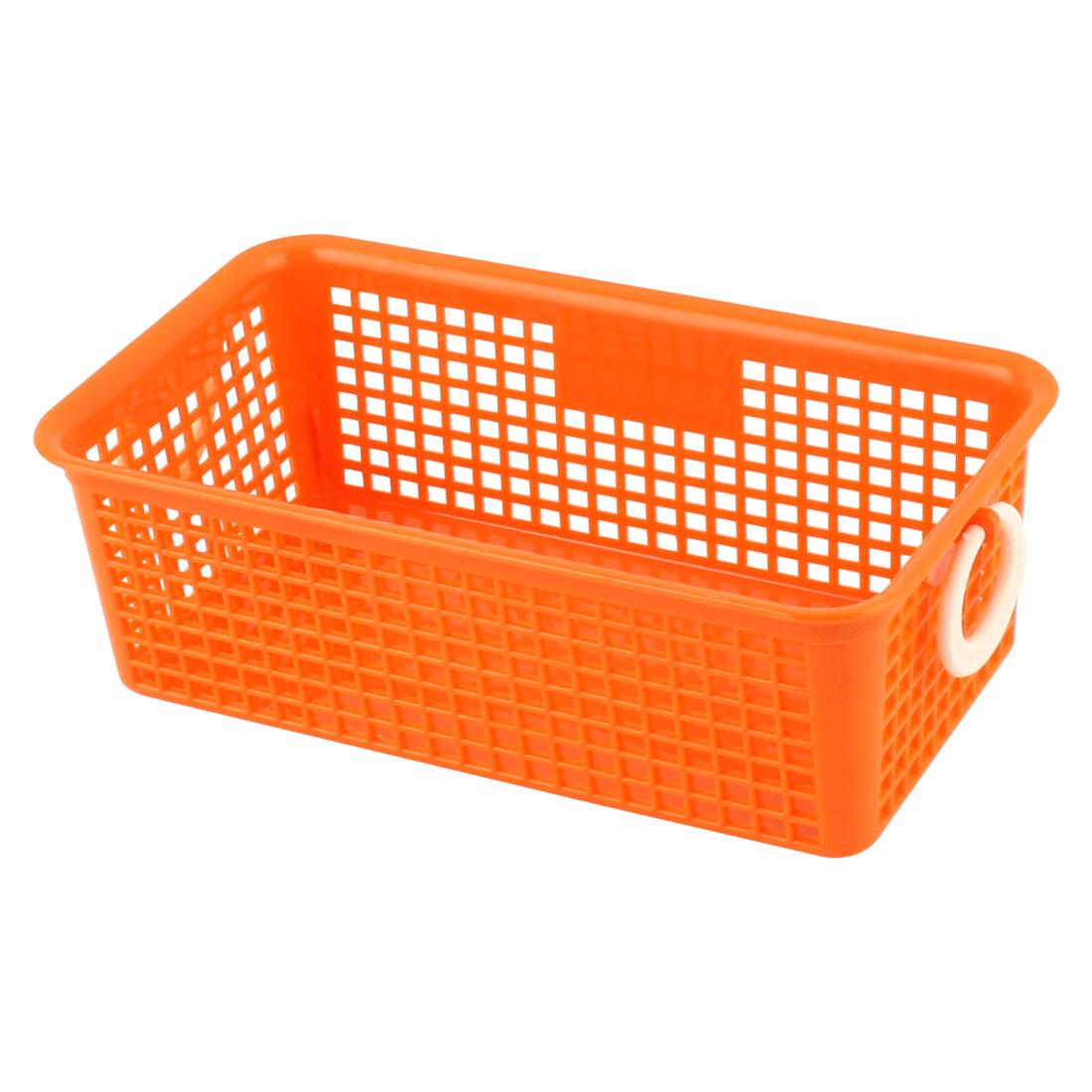 Household Kitchen Bathroom Plastic Rectangle Binaural Storage Basket Organizer Holder Orange