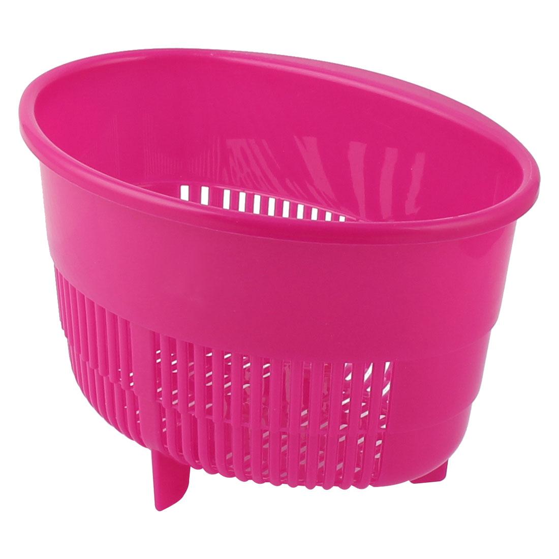 Household Kitchen Bathroom Plastic Oval Shaped Fruit Vegetables Drain Basket Holder Container Fuchsia