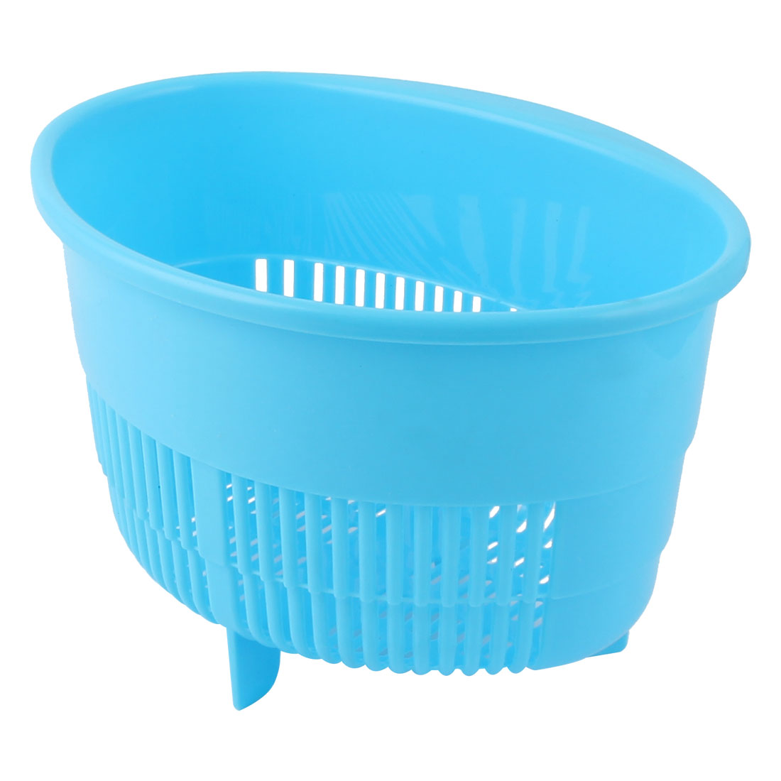 Household Kitchen Bathroom Plastic Oval Shaped Fruit Vegetables Drain Basket Holder Container Blue