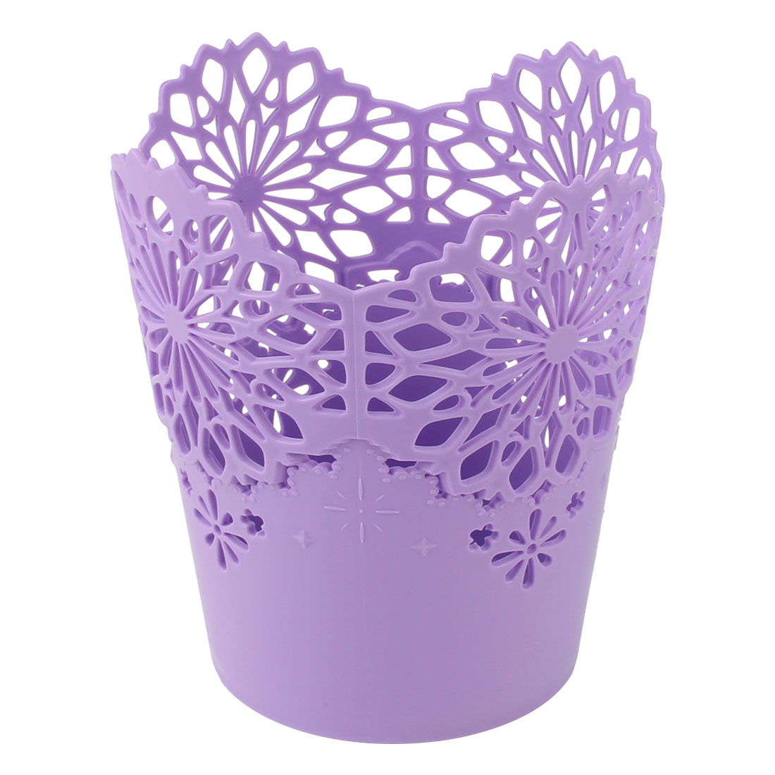 Desktop Plastic Wastepaper Storage Basket Rubbish Bin Trash Purple 13cm x 14.5cm