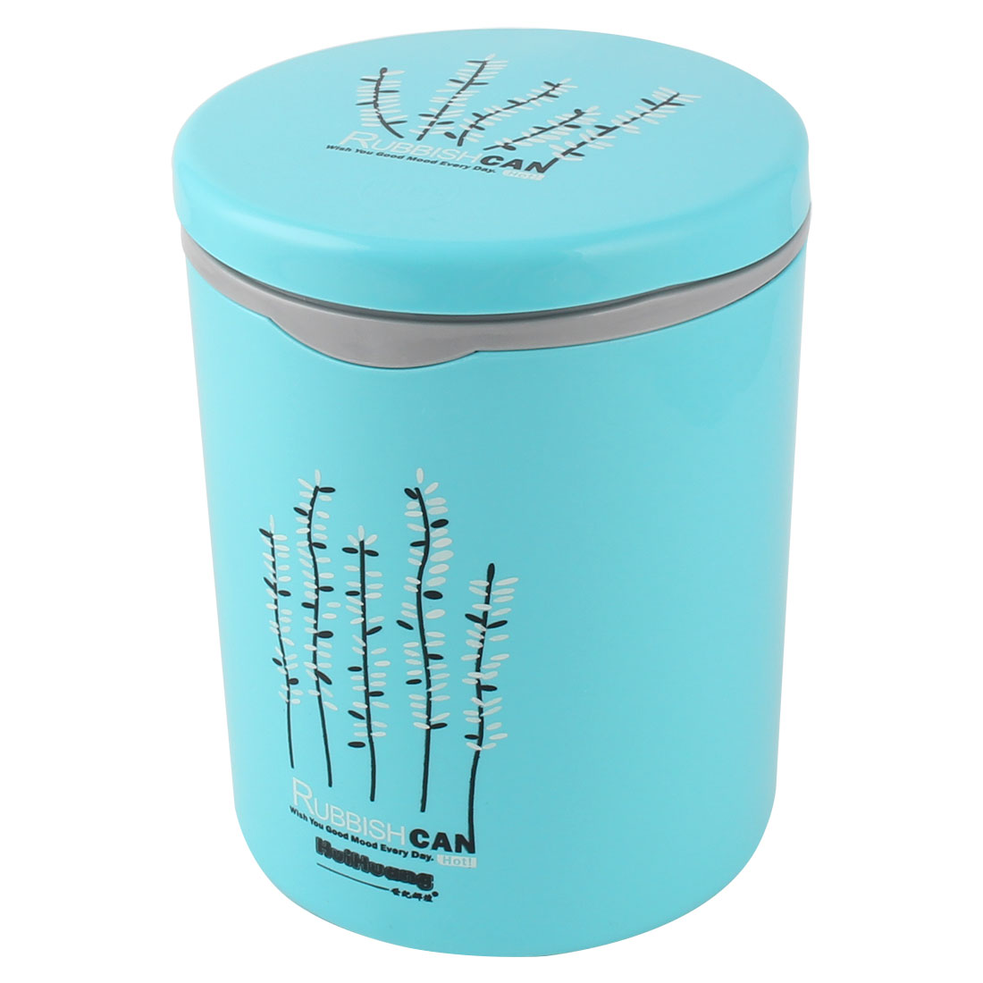 Push-button Desktop Storage Trash Rubbish Can Dustbin Waste Container 13.5 x 18cm Sky Blue