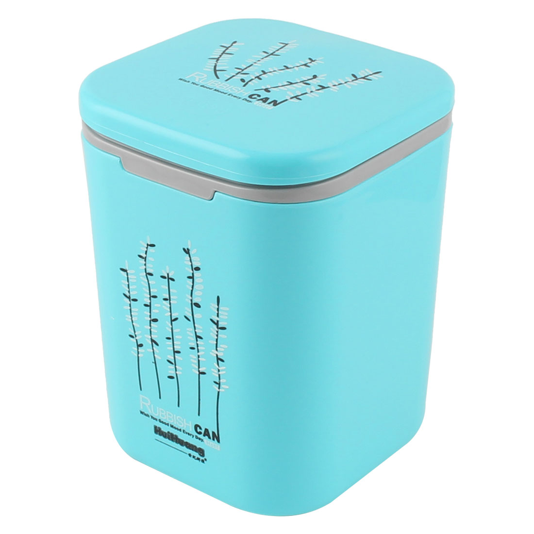 Push-button Desktop Storage Trash Rubbish Can Dustbin Waste Container 13 x 13 x 17.5cm Sky Blue