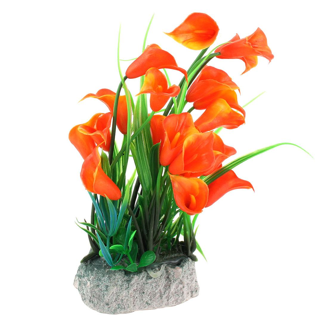 Aquarium Fish Tank Plastic Trumpet Flower Design Landscaping Manmade Aquatic Water Plant 21cm High