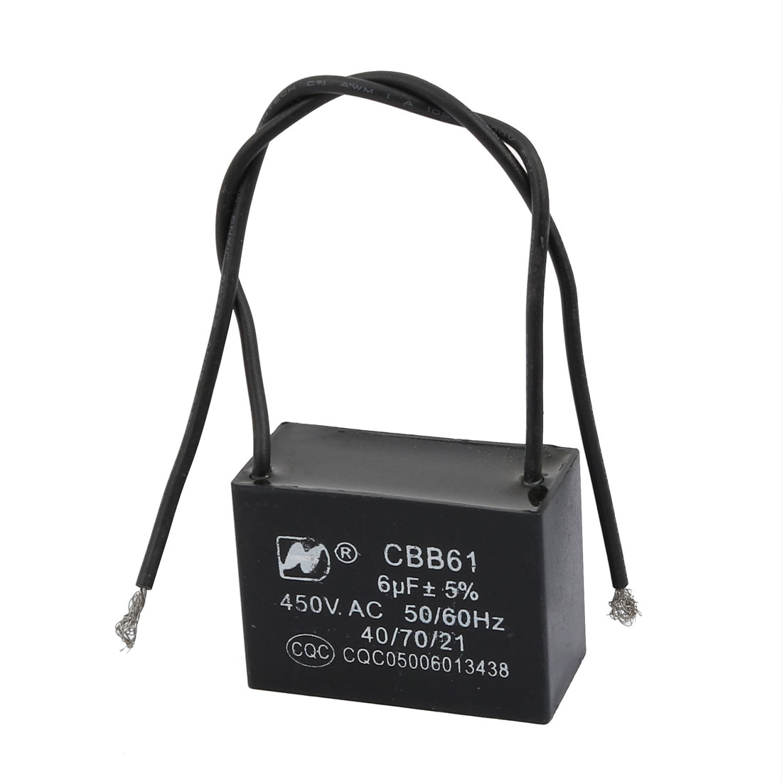 CBB61 AC450V 6uF 2-Wire Rectangle Metallized Ceiling Fan Motor Run Capacitor