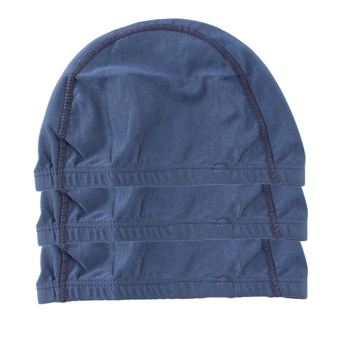 Sport Swimming Elastic Fiber Dome Shape Stretchy Headband Cap Dark Blue 3pcs