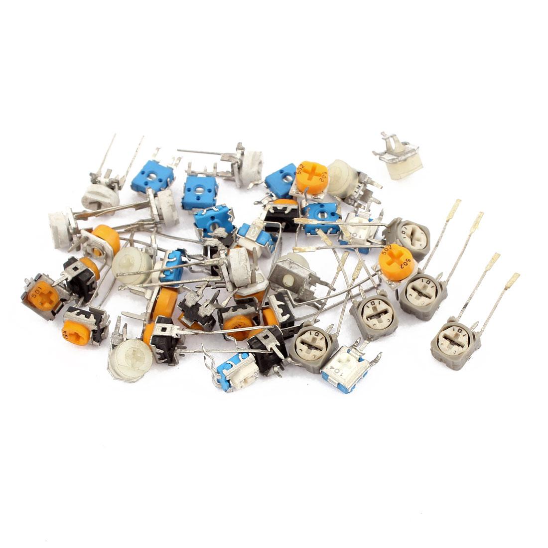 40 Pcs 2K 10K 50K 100K Ohm Multicolor Adjustable Resistors Rheostats