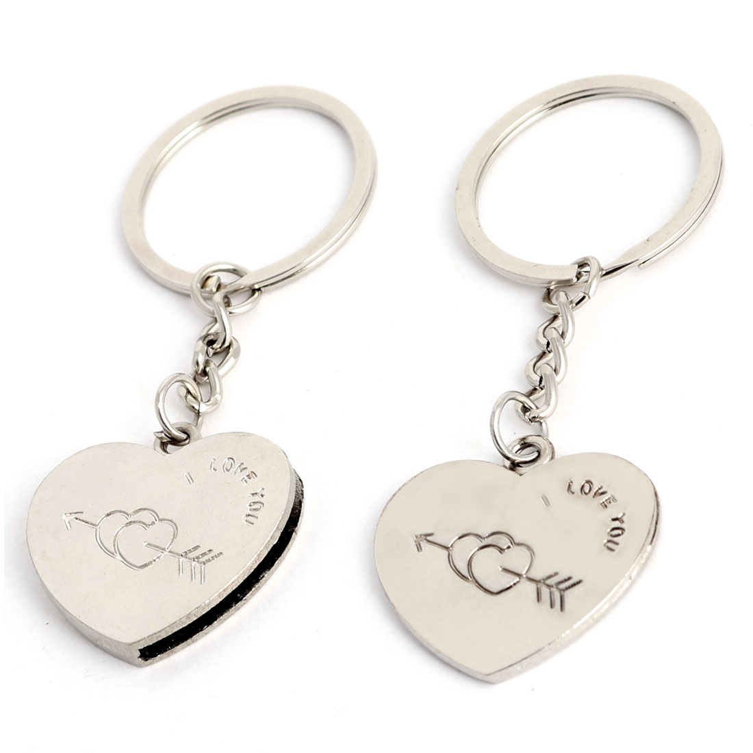 Stainless Steel Heart Shaped Pendant Keyring Silver Tone Pair for Lovers
