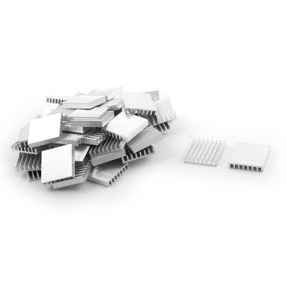 Aluminium Heat Diffuse Cooling Fin Cooler Silver Tone 25mm x 25mm x 5mm 57 Pcs