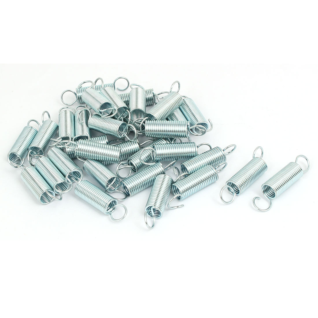 25mmx10.5mmx1.2mm Stainless Steel Dual Hook Tension Spring Silver Tone 33pcs