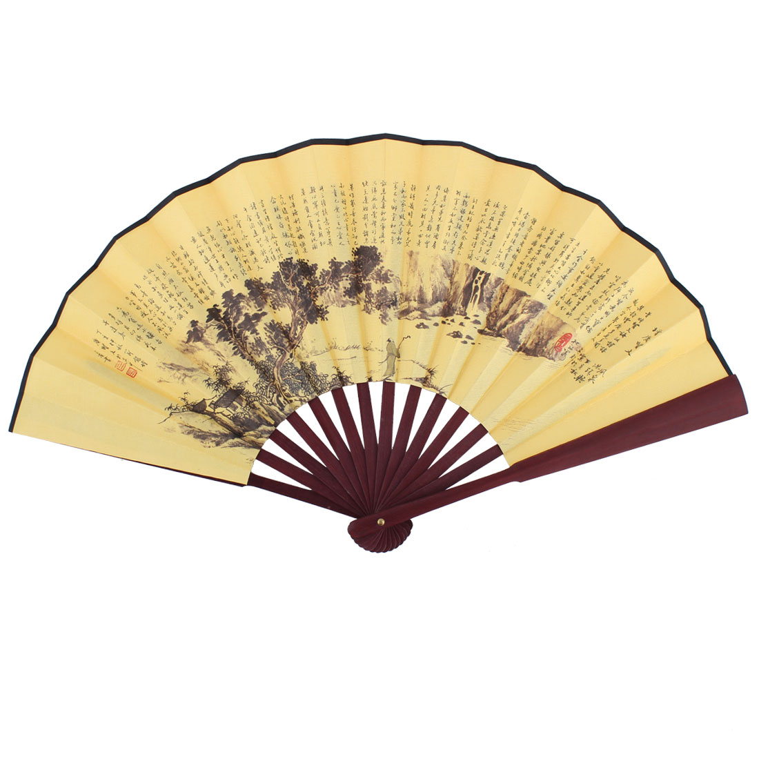 Man Bamboo Ribs Chinese Poems Landscape Pattern Summer Folding Cooling Hand Fan