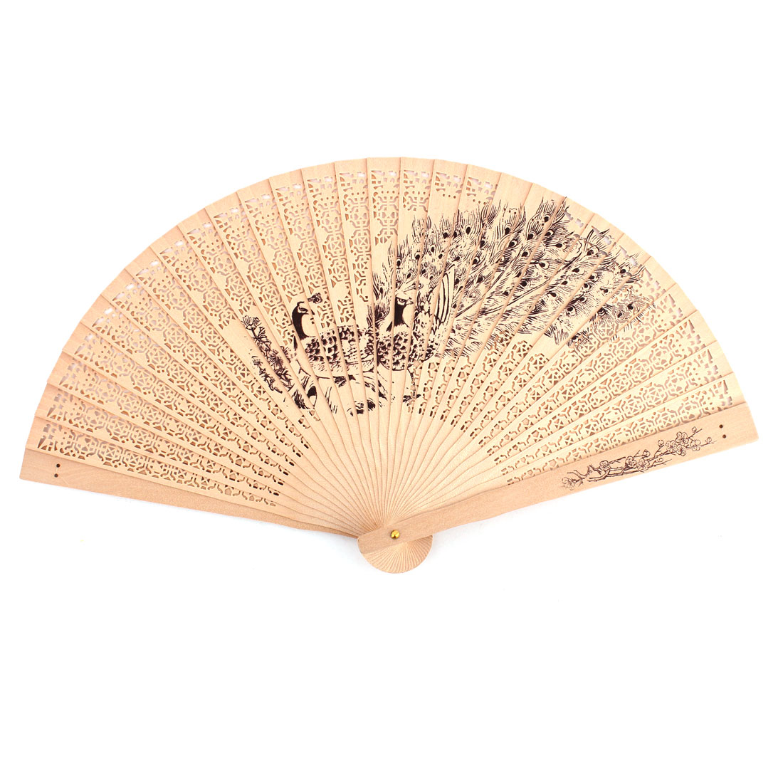 Lady Wooden Peacock Pattern Summer Scented Cooling Hand Folding Fan Wood Color