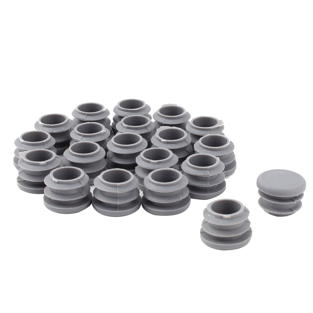 Furniture Table Chair Plastic Round Tube Pipe Insert Cover Protector Gray 19mm Dia 20pcs