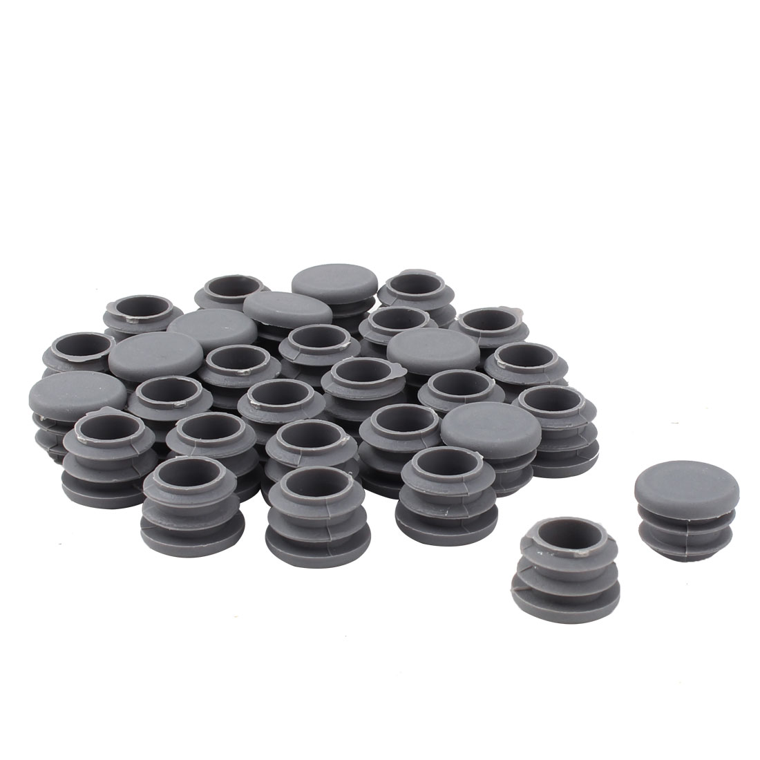 Furniture Table Chair Plastic Round Tube Pipe Insert Cover Protector Gray 19mm Dia 30pcs