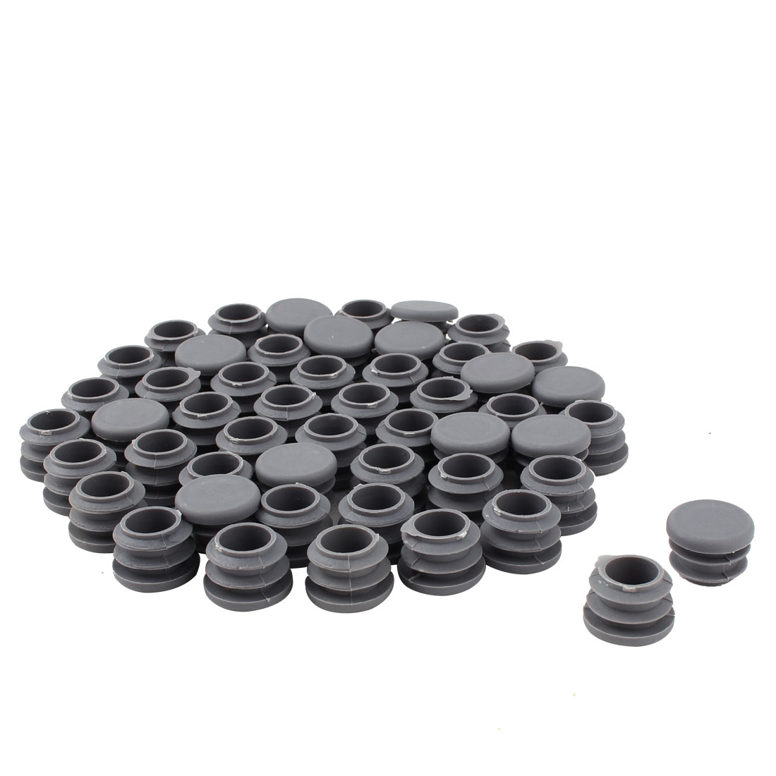 Furniture Table Chair Plastic Round Tube Pipe Insert Cover Protector Gray 19mm Dia 40pcs