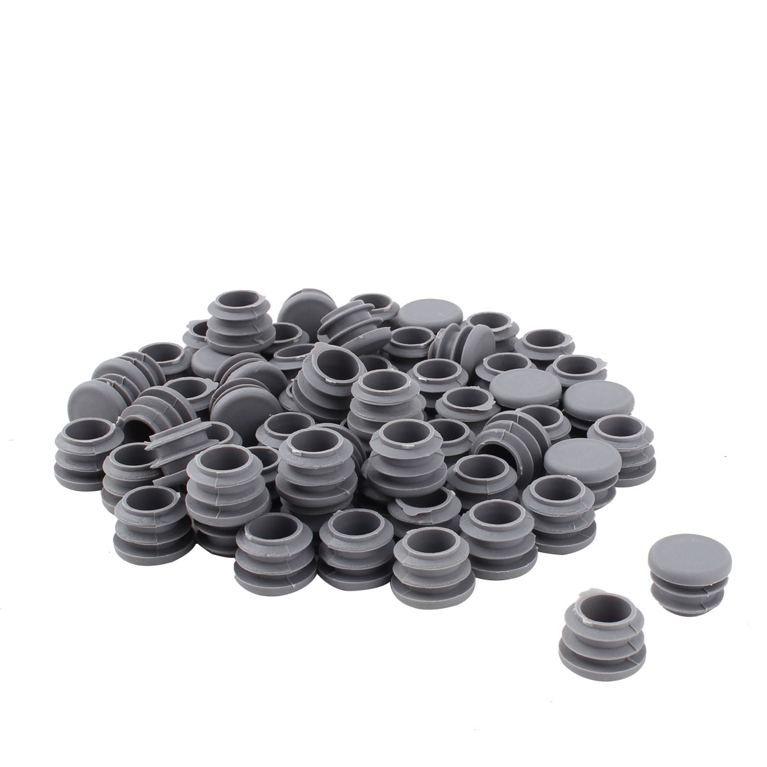 Furniture Table Chair Plastic Round Tube Pipe Insert Cover Protector Gray 19mm Dia 50pcs