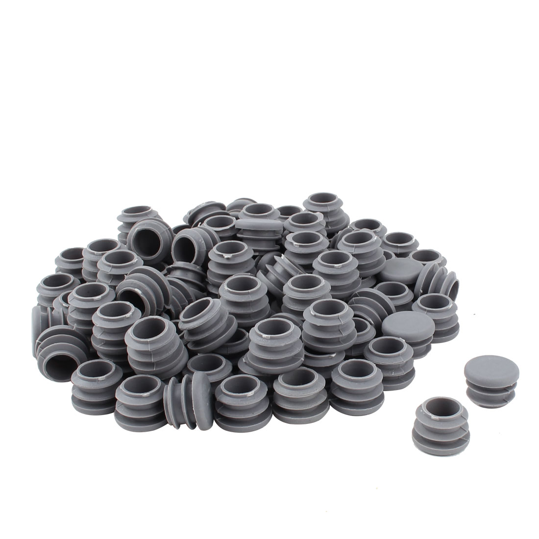Furniture Table Chair Plastic Round Tube Pipe Insert Cover Protector Gray 19mm Dia 80pcs