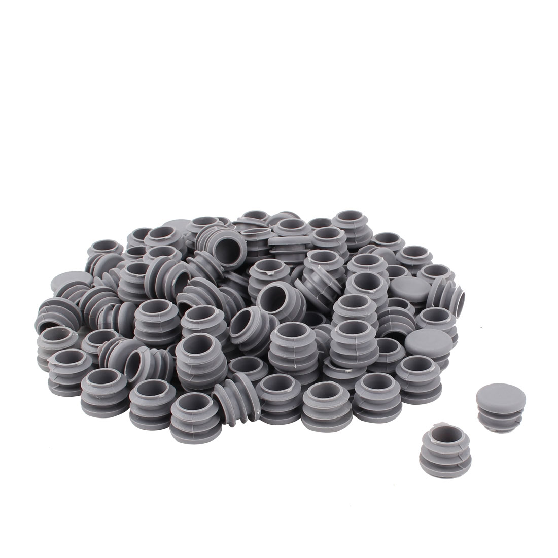 Furniture Table Chair Plastic Round Tube Pipe Insert Cover Protector Gray 19mm Dia 100pcs
