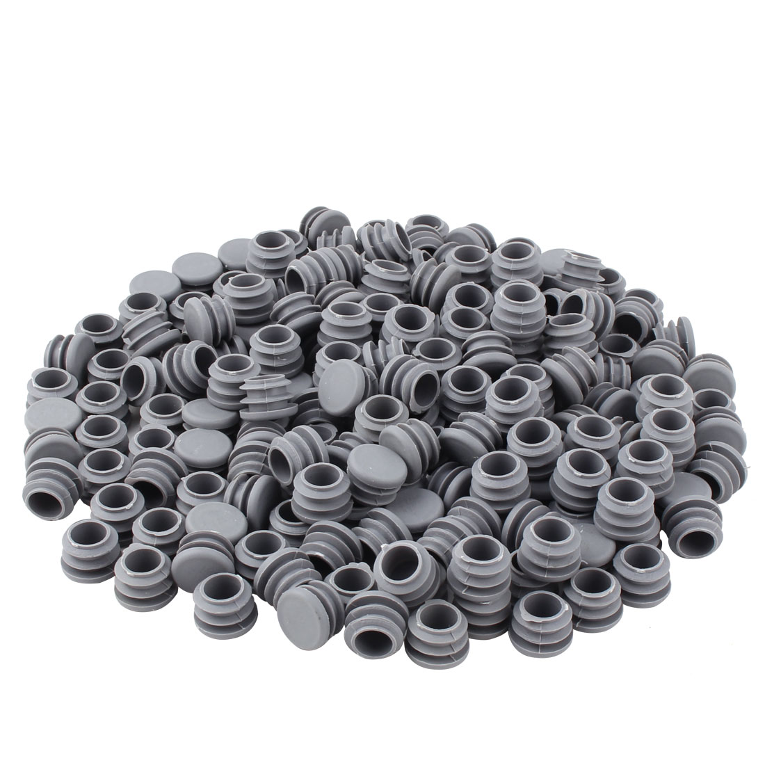 Furniture Table Chair Plastic Round Tube Pipe Insert Cover Protector Gray 19mm Dia 200pcs