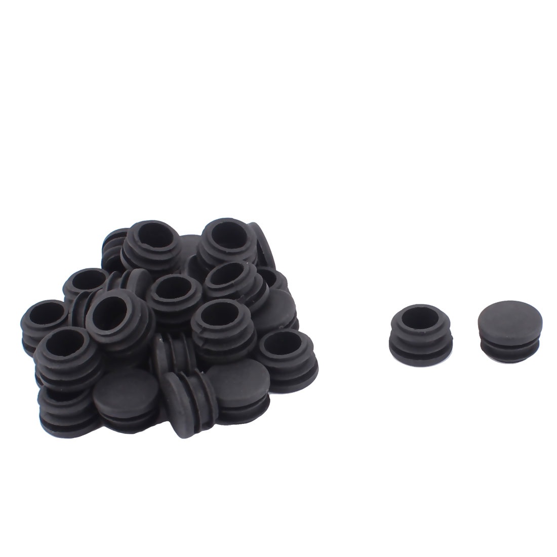 30pcs 22mm Diameter Black Plastic Protect Protecting Tubing Round Tube Inserts