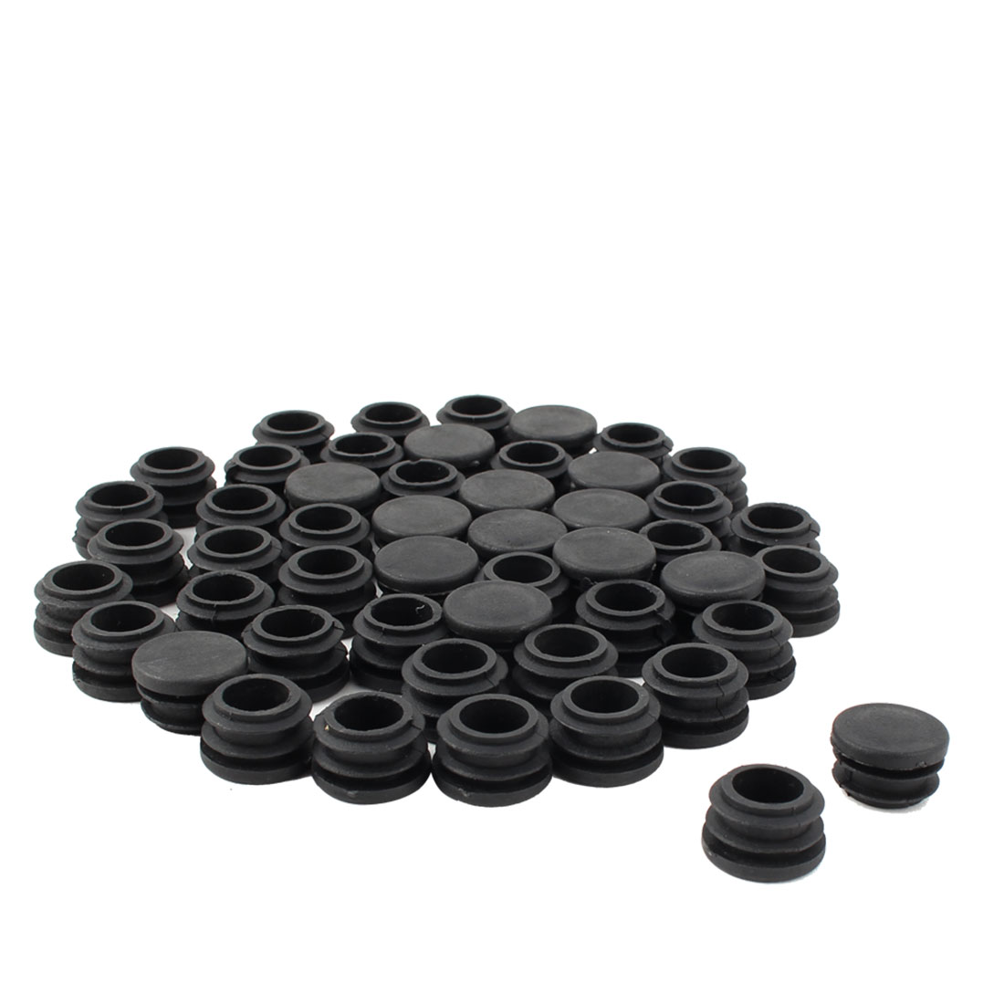 Furniture Table Chair Legs Plastic Round Tube Pipe Insert Cap Cover Stopper Black 21mm Dia 50pcs