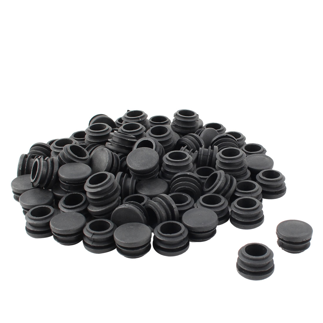 Furniture Table Chair Legs Plastic Round Tube Pipe Insert Cap Cover Stopper Black 22mm Dia 80pcs