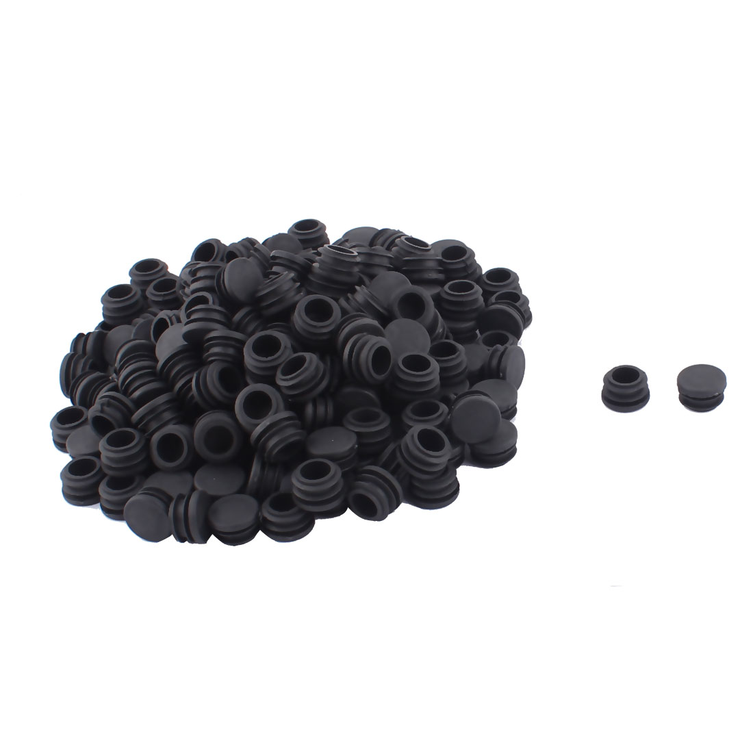 Furniture Table Chair Legs Plastic Flat Base Round Tube Pipe Insert Black 22mm Dia 200pcs