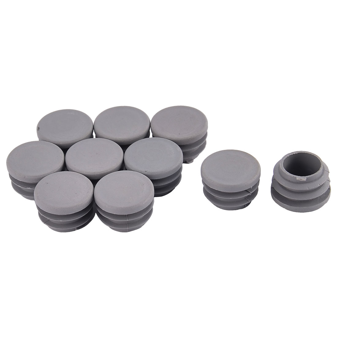 Furniture Table Chair Plastic Round Tube Pipe Insert Cap Cover Protector Gray 25mm Dia 10pcs