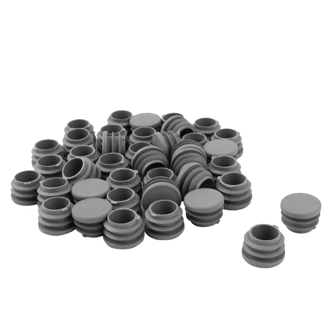 Furniture Table Chair Plastic Round Tube Pipe Insert Cap Cover Protector Gray 25mm Dia 40pcs