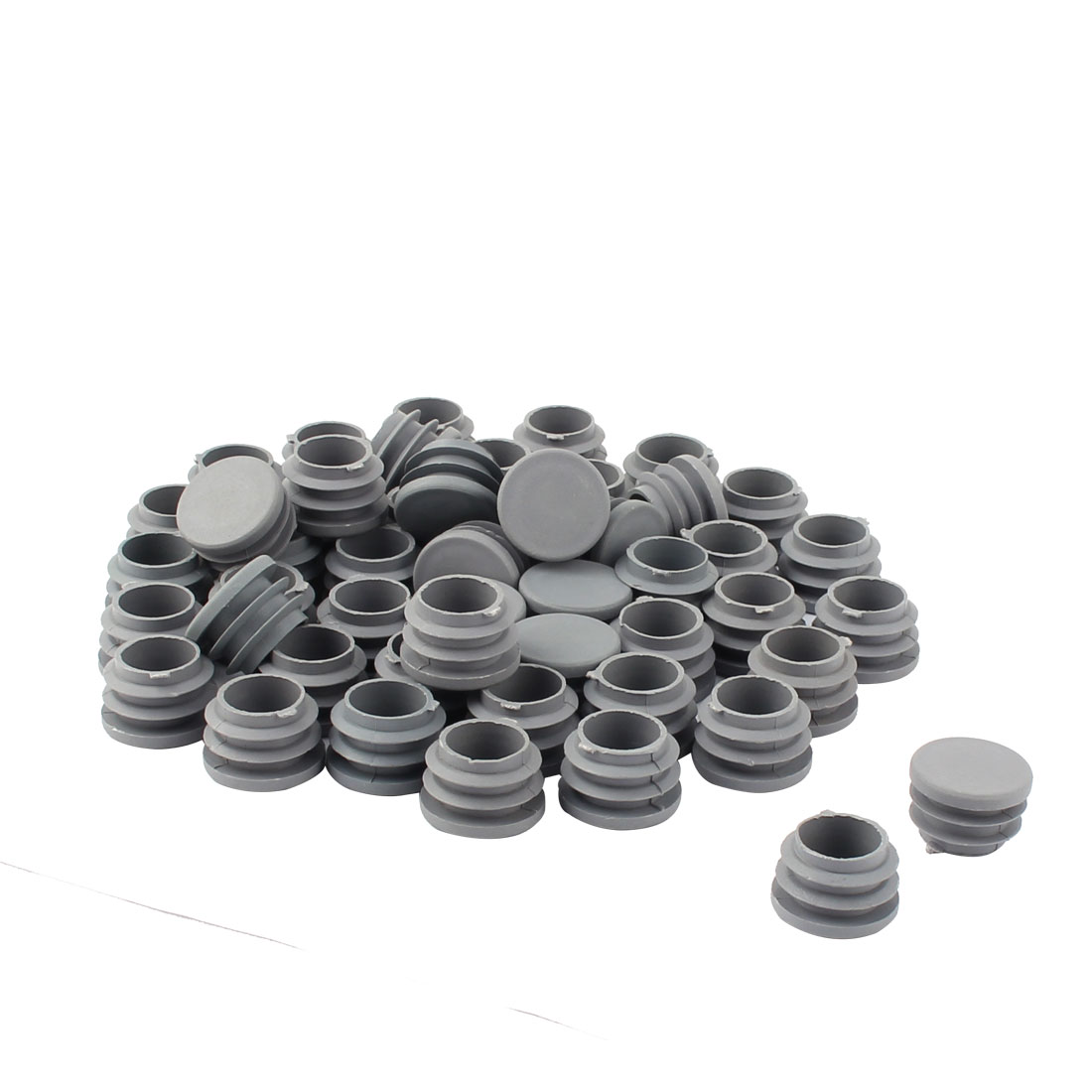 Furniture Table Chair Plastic Round Tube Pipe Insert Cap Cover Protector Gray 25mm Dia 50pcs