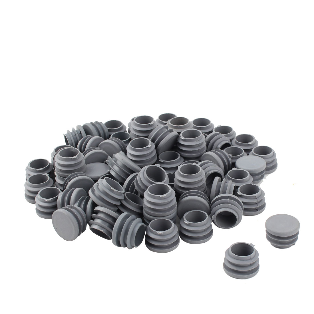 Furniture Table Chair Plastic Round Tube Pipe Insert Cap Cover Protector Gray 25mm Dia 70pcs