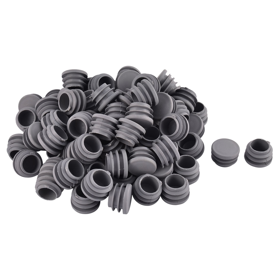 Furniture Table Chair Plastic Round Tube Pipe Insert Cap Cover Protector Gray 25mm Dia 80pcs