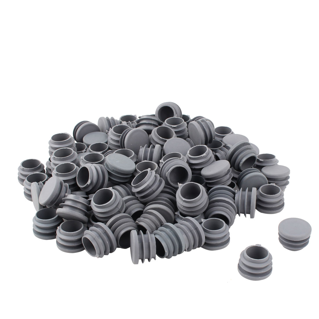 Furniture Table Chair Plastic Round Tube Pipe Insert Cap Cover Protector Gray 25mm Dia 100pcs