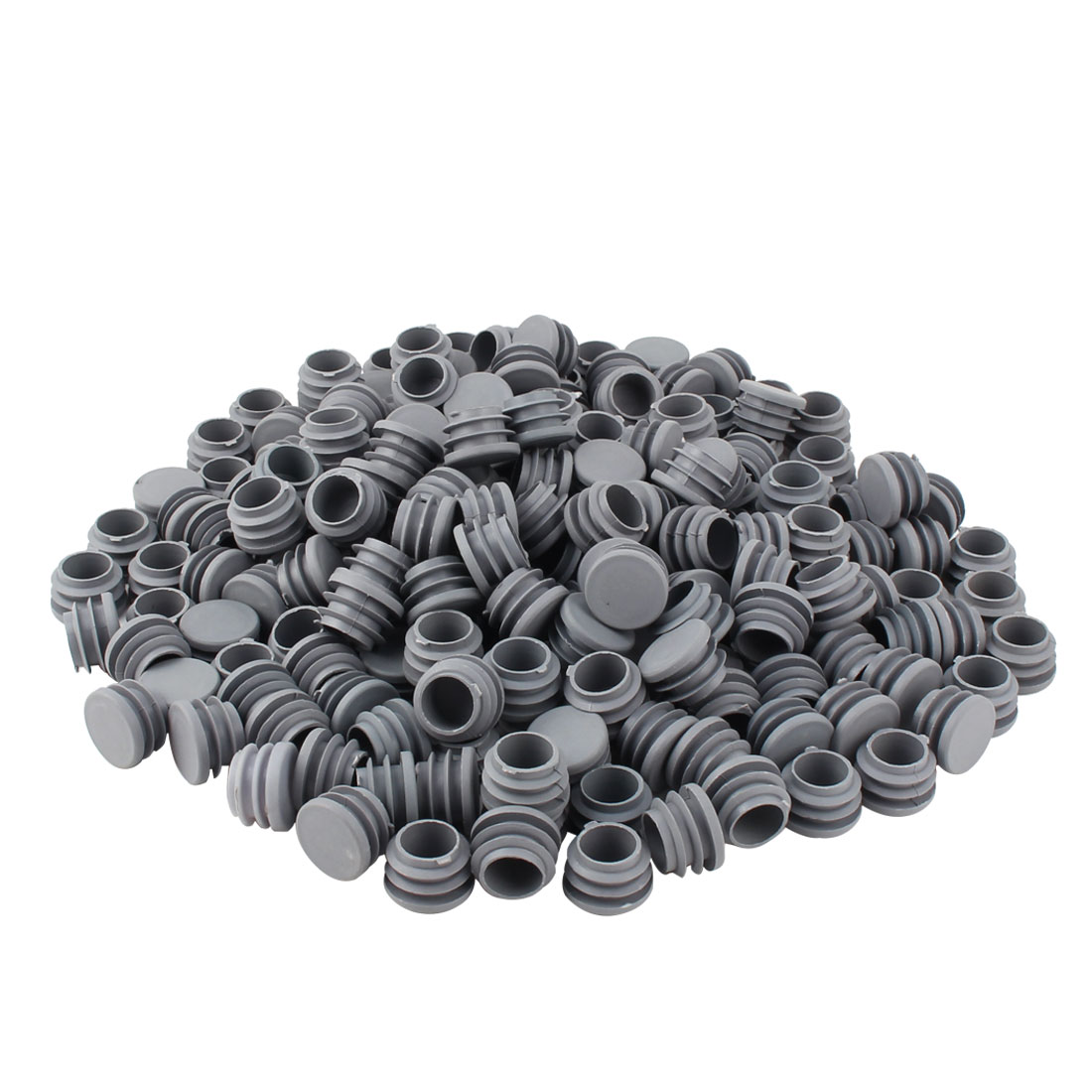 Furniture Table Chair Plastic Round Tube Pipe Insert Cap Cover Protector Gray 25mm Dia 200pcs