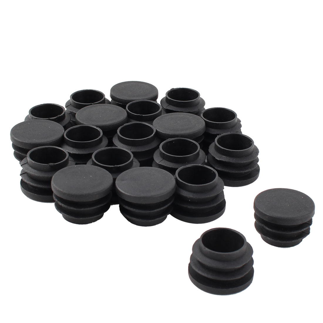 Furniture Table Chair Legs Plastic Flat Base Round Tube Pipe Insert Cap Cover Black 25mm Dia 20pcs