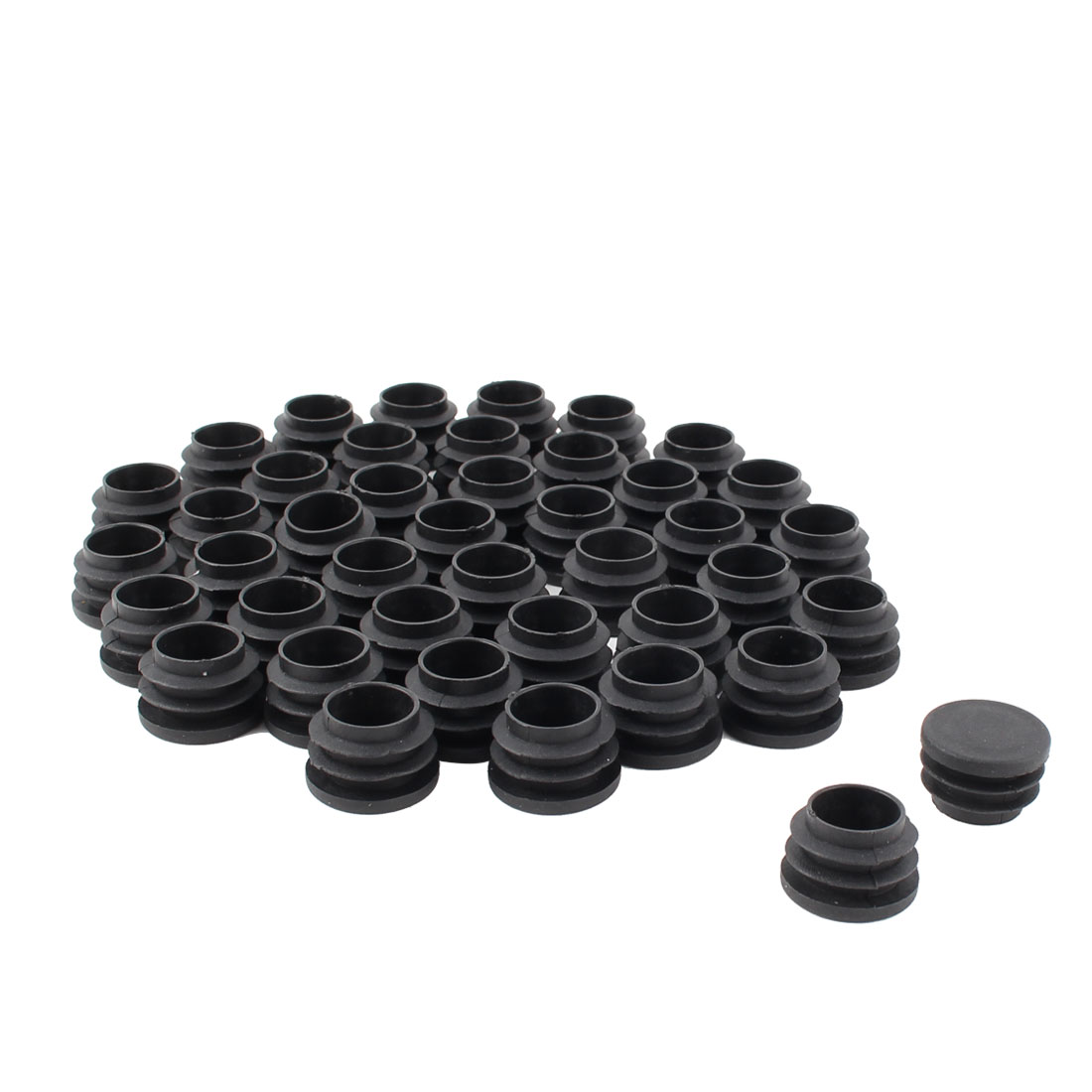 Furniture Table Chair Legs Plastic Flat Base Round Tube Pipe Insert Cap Cover Black 25mm Dia 40pcs
