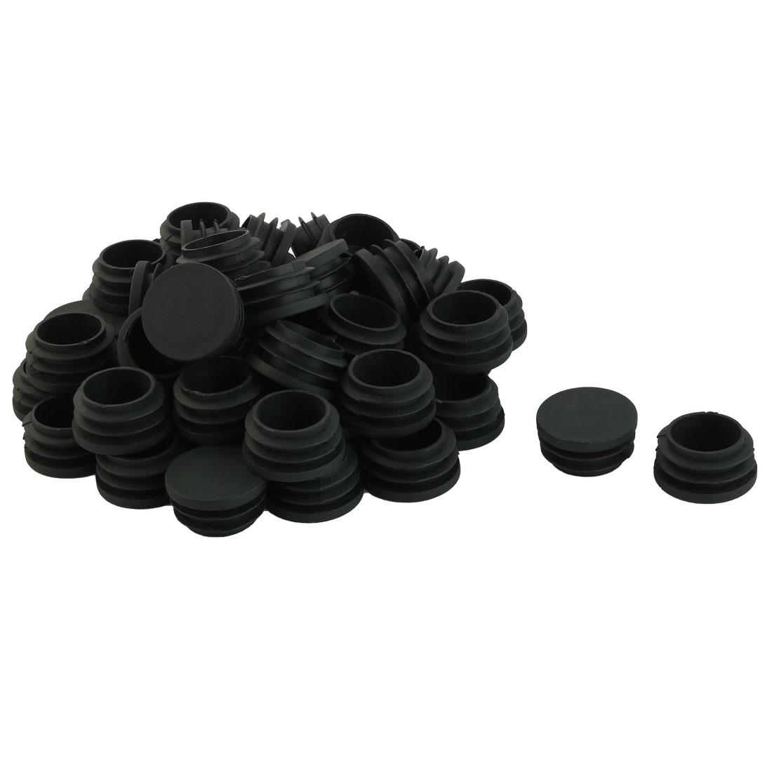 Furniture Table Chair Legs Plastic Flat Base Round Tube Pipe Insert Cap Cover Black 25mm Dia 50pcs