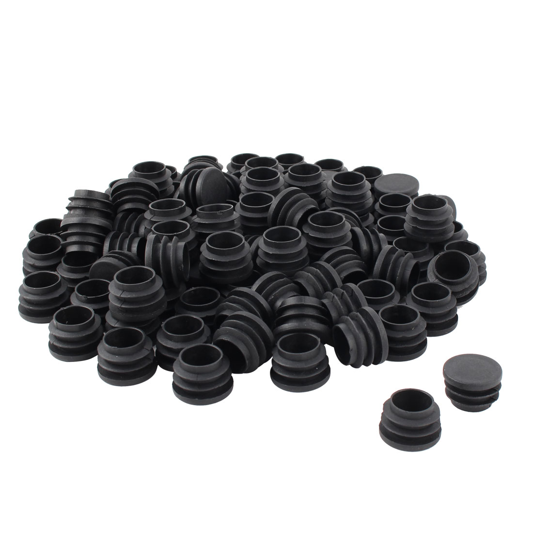 Furniture Table Chair Legs Plastic Flat Base Round Tube Pipe Insert Cap Cover Black 25mm Dia 80pcs