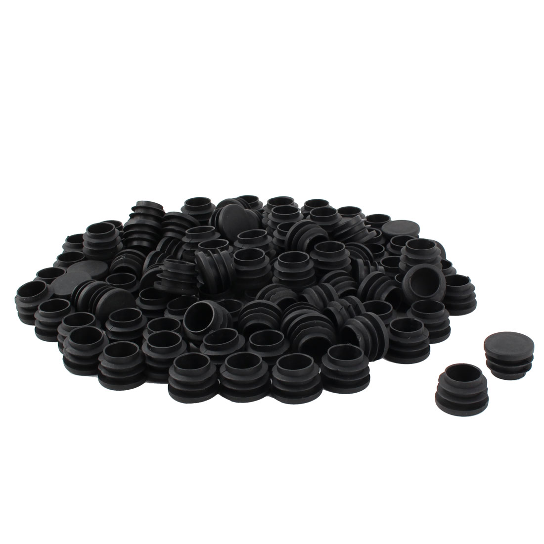 Furniture Table Chair Legs Plastic Flat Base Round Tube Pipe Insert Cap Cover Black 25mm Dia 100pcs