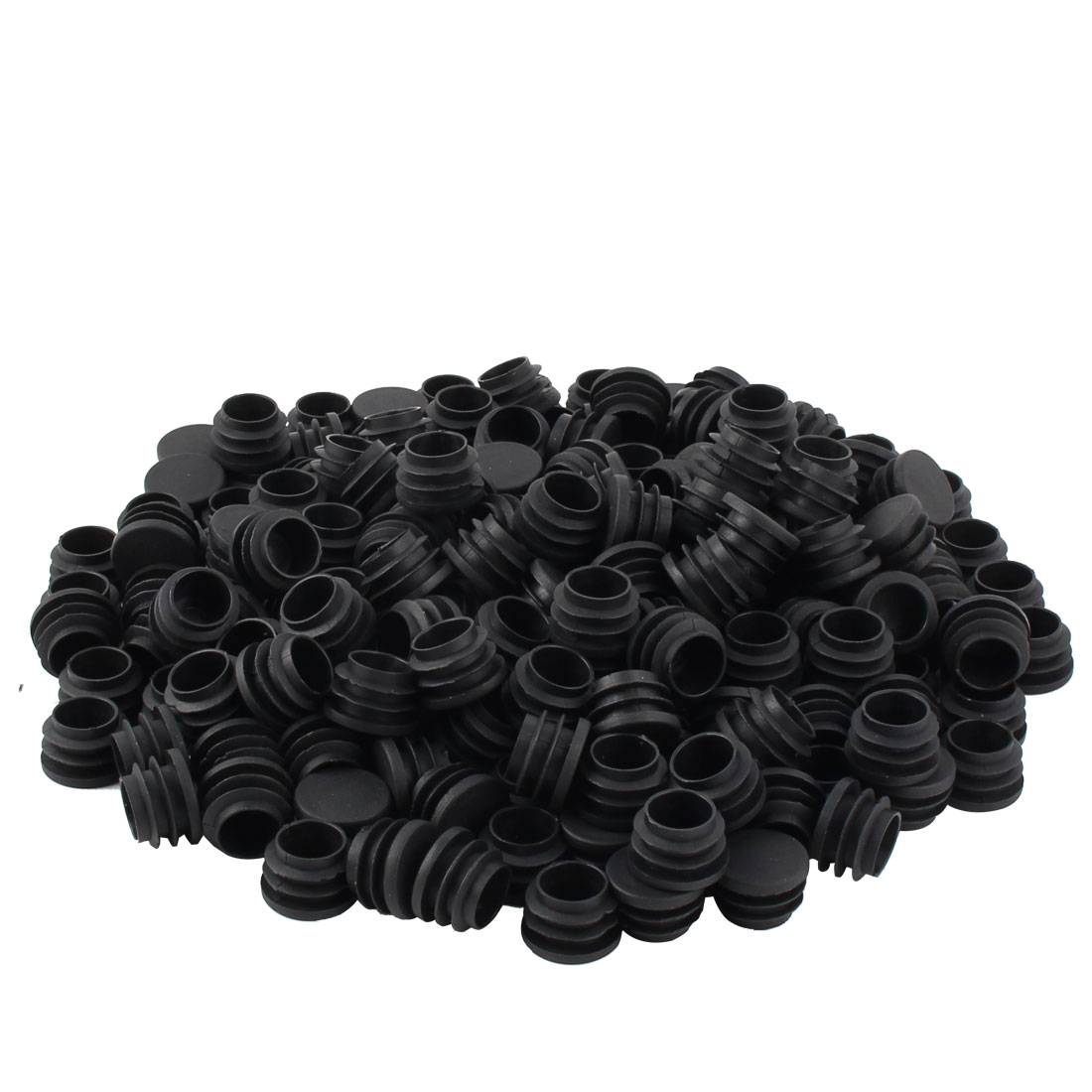 Furniture Table Chair Legs Plastic Flat Base Round Tube Pipe Insert Cap Cover Black 25mm Dia 200pcs