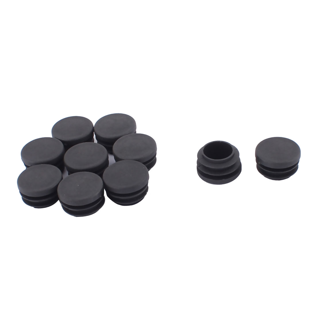 Table Chair Legs Plastic Flat Base Round Tube Insert Cover Black 28mm Dia 10pcs