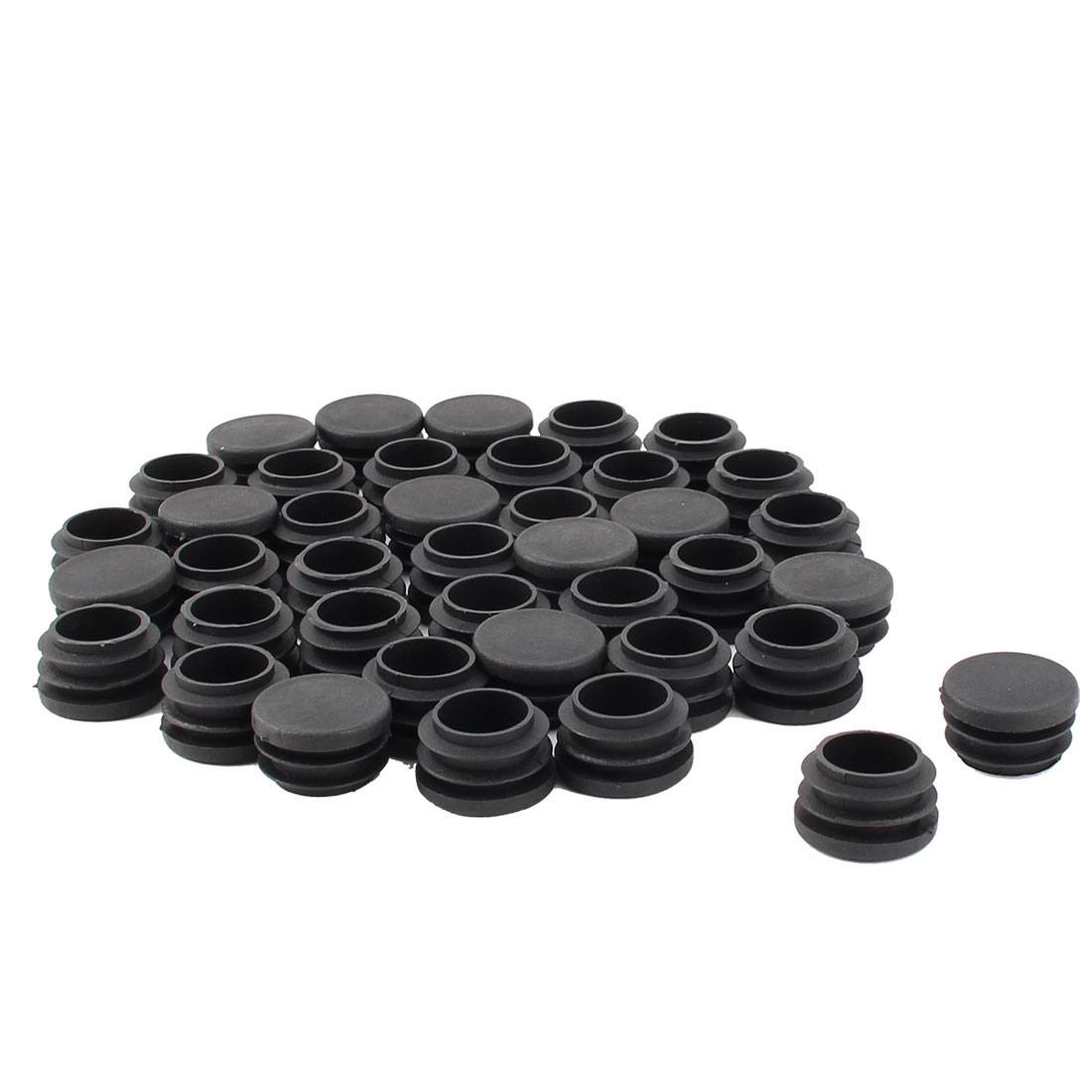 Furniture Table Chair Legs Plastic Flat Base Round Tube Pipe Insert Cap Cover Black 28mm Dia 40pcs